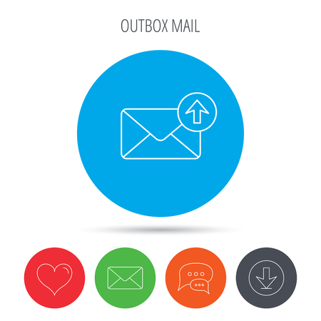 outbox: Mail outbox icon. Email message sign. Upload arrow symbol. Mail, download and speech bubble buttons. Like symbol. Vector Illustration