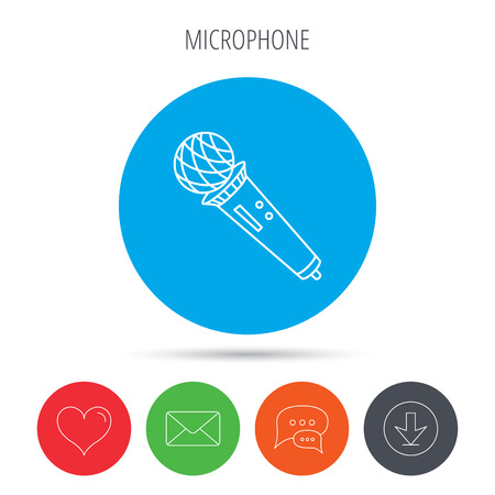voice mail: Microphone icon. Karaoke or radio sign. Mail, download and speech bubble buttons. Like symbol. Vector
