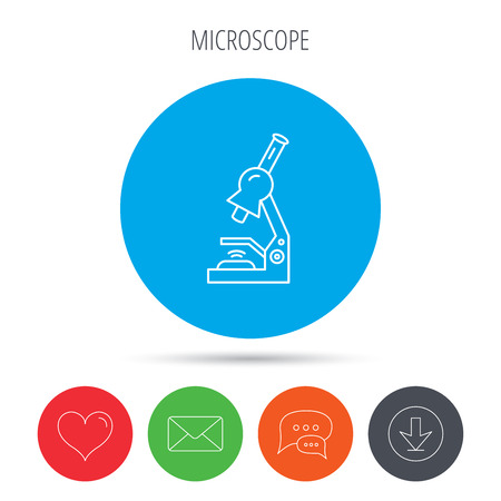 criminology: Microscope icon. Medical laboratory equipment sign. Pathology or scientific symbol. Mail, download and speech bubble buttons. Like symbol. Vector