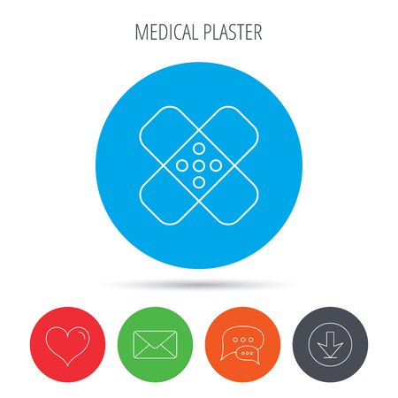 Medical plaster icon. Injury fix sign. Mail, download and speech bubble buttons. Like symbol. Vector