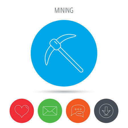 pickaxe: Mining tool icon. Pickaxe equipment sign. Minerals industry symbol. Mail, download and speech bubble buttons. Like symbol. Vector Illustration