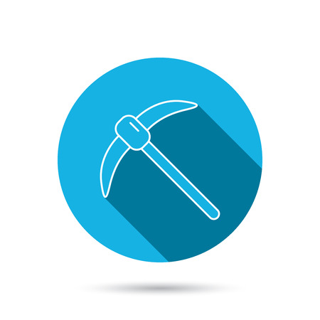 mattock: Mining tool icon. Pickaxe equipment sign. Minerals industry symbol. Blue flat circle button with shadow. Vector Illustration