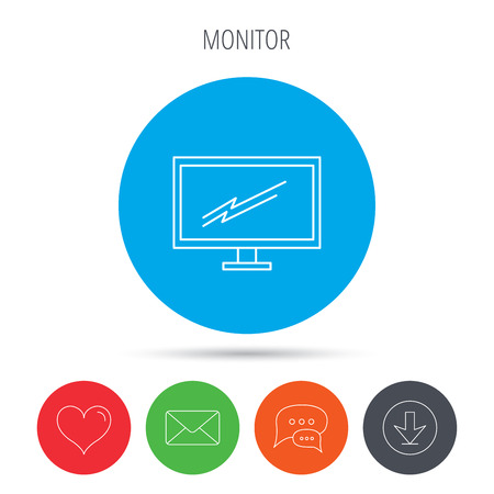 led tv: PC monitor icon. Led TV sign. Widescreen display symbol. Mail, download and speech bubble buttons. Like symbol. Vector