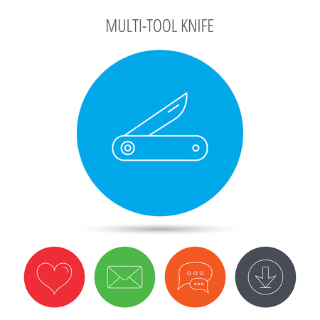 knive: Multitool knife icon. Multifunction tool sign. Hiking equipment symbol. Mail, download and speech bubble buttons. Like symbol. Vector