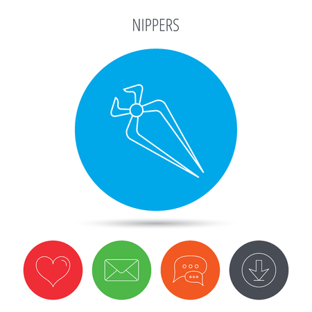 nippers: Nippers icon. Repairing service tool sign. Mail, download and speech bubble buttons. Like symbol. Vector