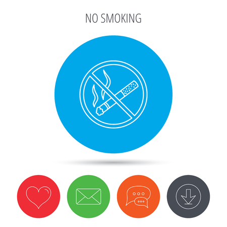 heart burn: No smoking icon. Stop smoke sign. Mail, download and speech bubble buttons. Like symbol. Vector