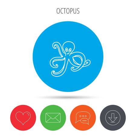 devilfish: Octopus icon. Ocean devilfish sign. Mail, download and speech bubble buttons. Like symbol. Vector Illustration
