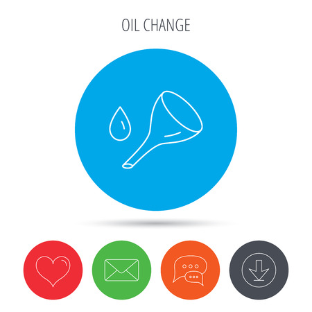 oil change: Oil change service icon. Fuel can with drop sign. Mail, download and speech bubble buttons. Like symbol. Vector