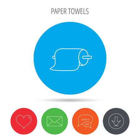 towels: Paper towels icon. Kitchen hygiene sign. Mail, download and speech bubble buttons. Like symbol. Vector Illustration