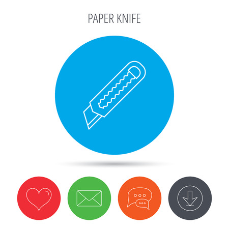retractable: Paper knife icon. Cutter tool sign. Mail, download and speech bubble buttons. Like symbol. Vector