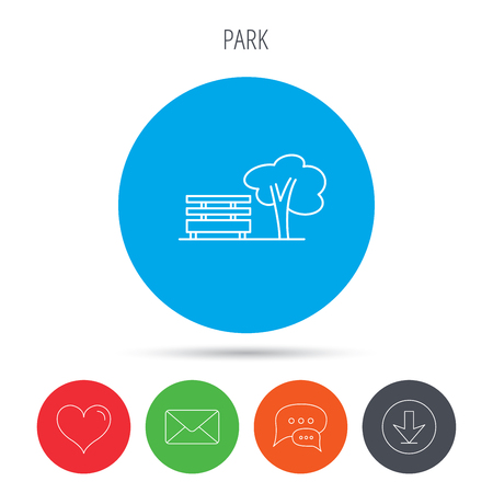 park icon: Public park icon. Tree with bench sign. Mail, download and speech bubble buttons. Like symbol. Vector
