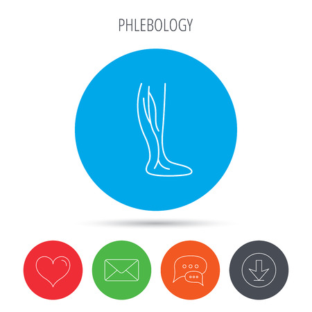 varicose veins: Phlebology icon. Leg veins sign. Varicose or thrombosis symbol. Mail, download and speech bubble buttons. Like symbol. Vector