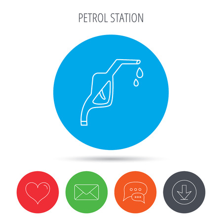 nozzle: Gasoline pump nozzle icon. Gas or Petrol station sign. Mail, download and speech bubble buttons. Like symbol. Vector Illustration