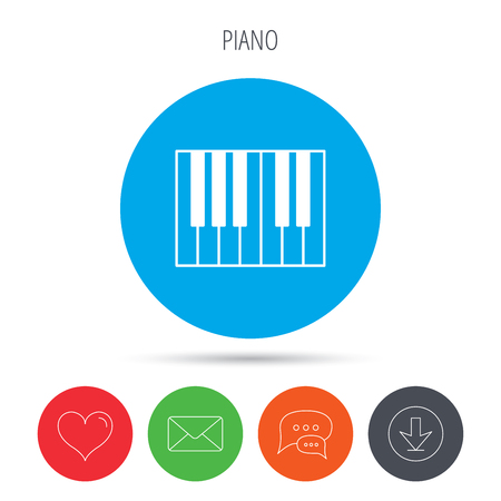 royal mail: Piano icon. Royal musical instrument sign. Mail, download and speech bubble buttons. Like symbol. Vector