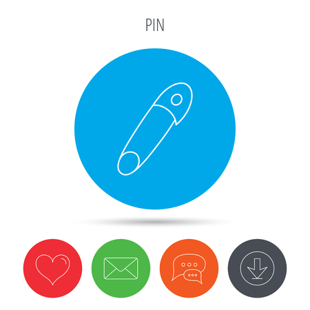 attachment: Pin icon. Stationery sign. Attachment symbol. Mail, download and speech bubble buttons. Like symbol. Vector