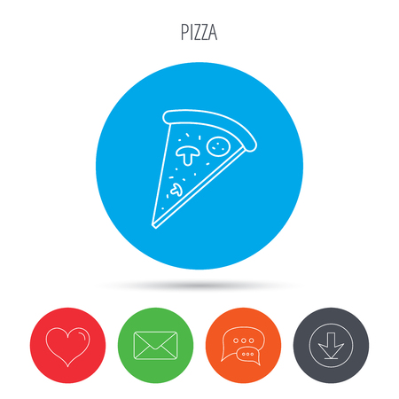 bake: Pizza icon. Piece of Italian bake sign. Mail, download and speech bubble buttons. Like symbol. Vector Illustration