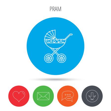 nursing mother: Pram icon. Newborn stroller sign. Child buggy transportation symbol. Mail, download and speech bubble buttons. Like symbol. Vector Illustration