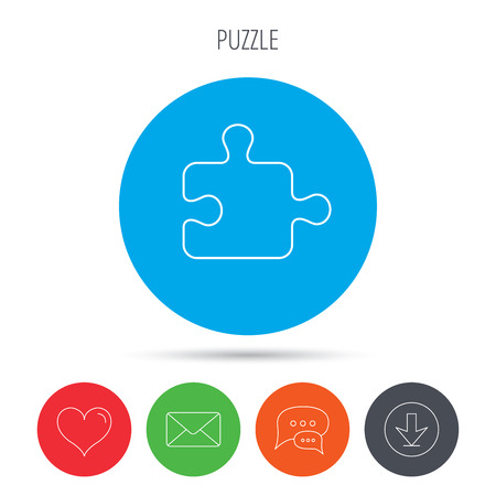 boardgames: Puzzle icon. Jigsaw logical game sign. Boardgame piece symbol. Mail, download and speech bubble buttons. Like symbol. Vector