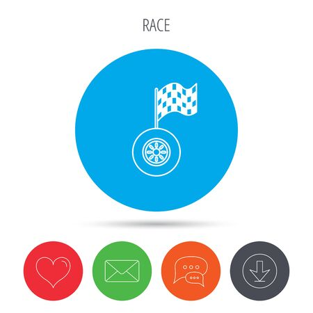 racing sign: Race icon. Wheel with racing flag sign. Mail, download and speech bubble buttons. Like symbol. Vector