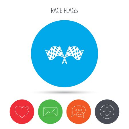 crosswise: Crosswise racing flags icon. Finishing symbol. Mail, download and speech bubble buttons. Like symbol. Vector Illustration