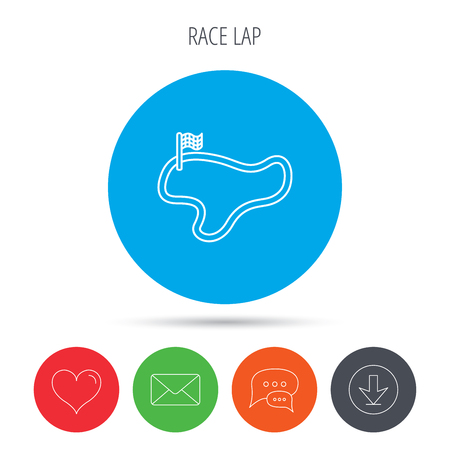 lap: Race track or lap icon. Finish flag sign. Mail, download and speech bubble buttons. Like symbol. Vector