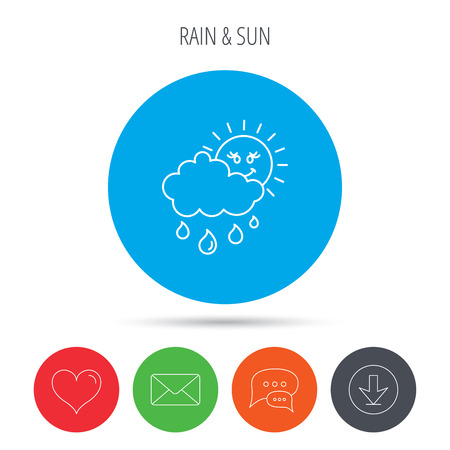 overcast: Rain and sun icon. Water drops and cloud sign. Rainy overcast day symbol. Mail, download and speech bubble buttons. Like symbol. Vector Illustration