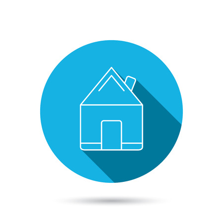 realestate: Real estate icon. House building sign. Real-estate property symbol. Blue flat circle button with shadow. Vector Illustration