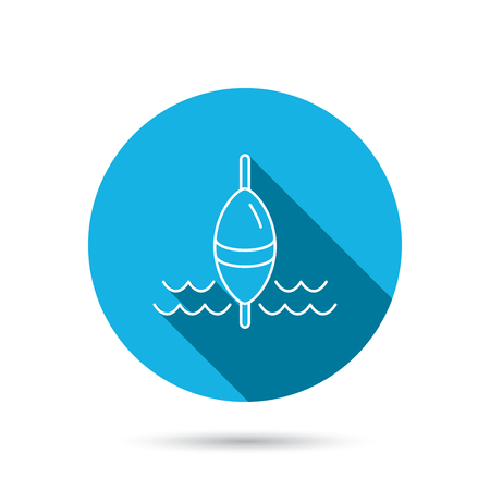 fishing float: Fishing float icon. Fisherman bobber sign. Blue flat circle button with shadow. Vector