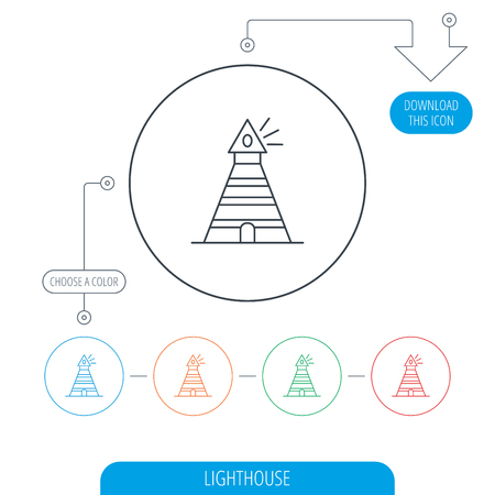 searchlight: Lighthouse icon. Searchlight signal sign. Coast tower symbol. Line circle buttons. Download arrow symbol. Vector