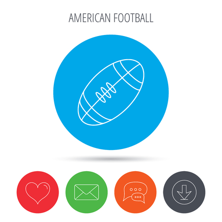 american downloads: American football icon. Sport ball sign. Team game symbol. Mail, download and speech bubble buttons. Like symbol. Vector