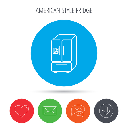 american downloads: American fridge icon. Refrigerator with ice sign. Mail, download and speech bubble buttons. Like symbol. Vector Illustration
