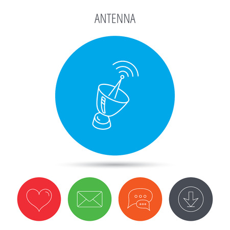 sputnik: Antenna icon. Sputnik satellite sign. Radio signal symbol. Mail, download and speech bubble buttons. Like symbol. Vector Illustration