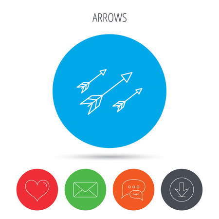 armbrust: Bow arrows icon. Hunting sport equipment sign. Archer weapon symbol. Mail, download and speech bubble buttons. Like symbol. Vector