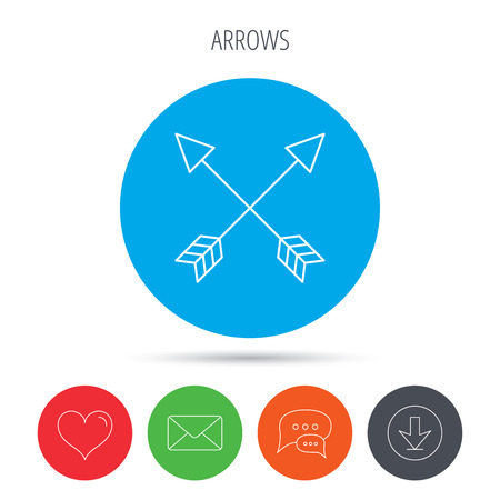 darts flying: Bow arrows icon. Hunting sport equipment sign. Archer weapon symbol. Mail, download and speech bubble buttons. Like symbol. Vector
