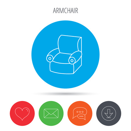 comfortable: Armchair icon. Comfortable furniture sign. Mail, download and speech bubble buttons. Like symbol. Vector