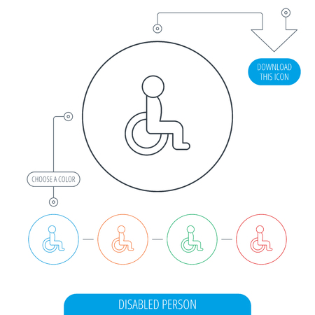 personne handicap�e: Disabled person icon. Human on wheelchair sign. Patient transportation symbol. Line circle buttons. Download arrow symbol. Vector Illustration