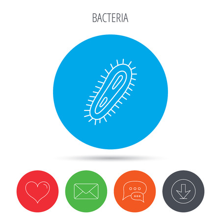 infection: Bacteria icon. Medicine infection symbol. Bacterium or microbe sign. Mail, download and speech bubble buttons. Like symbol. Vector Illustration