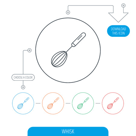 whisking: Whisk icon. Kitchen tool sign. Kitchenware whisking beater symbol. Line circle buttons. Download arrow symbol. Vector