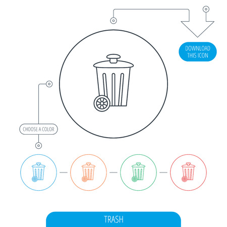 trash container: Recycle bin icon. Trash container sign. Street rubbish symbol. Line circle buttons. Download arrow symbol. Vector
