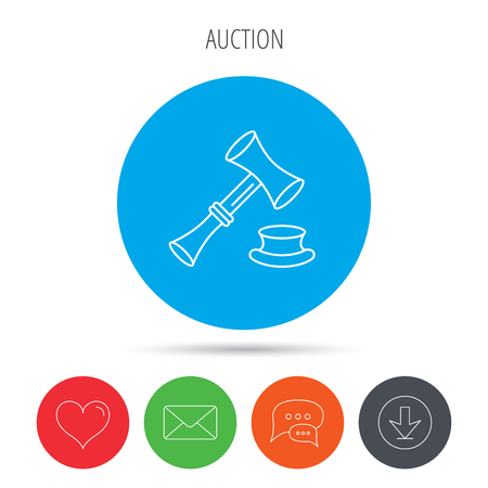 sentencing: Auction hammer icon. Justice and law sign. Mail, download and speech bubble buttons. Like symbol. Vector Illustration