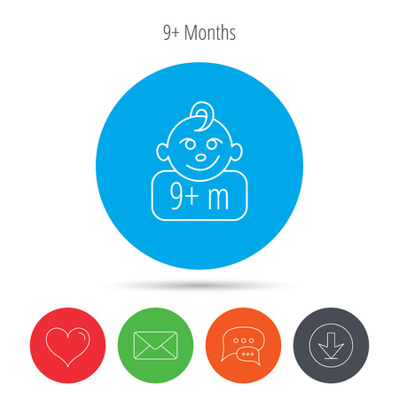 nine months: Baby face icon. Newborn child sign. Use of nine months and plus symbol. Mail, download and speech bubble buttons. Like symbol. Vector
