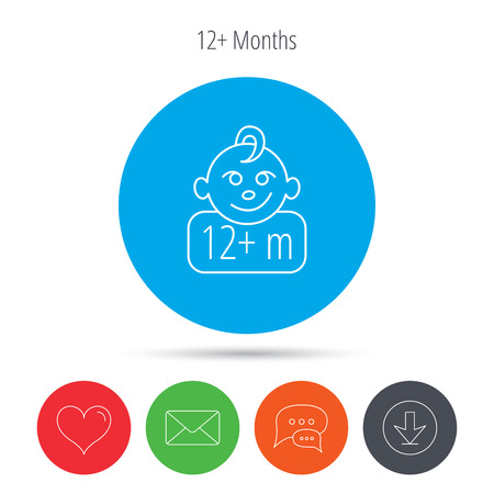 plus symbol: Baby face icon. Newborn child sign. Use of twelve months and plus symbol. Mail, download and speech bubble buttons. Like symbol. Vector Illustration