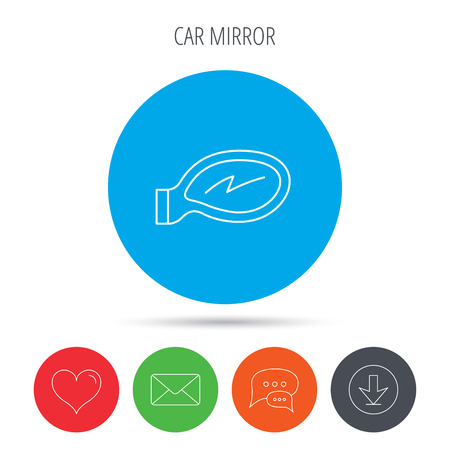 driveway: Car mirror icon. Driveway side view sign. Mail, download and speech bubble buttons. Like symbol. Vector Illustration
