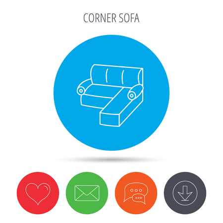 Corner sofa icon. Comfortable couch sign. Furniture symbol. Mail, download and speech bubble buttons. Like symbol. Vector