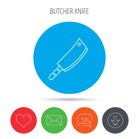 butcher knife: Butcher knife icon. Kitchen chef tool sign. Mail, download and speech bubble buttons. Like symbol. Vector