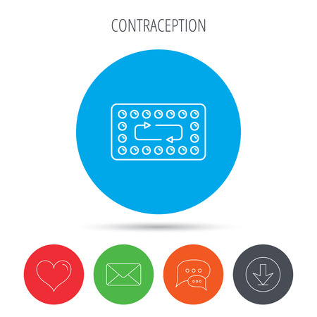 contraception: Contraception pills icon. Pharmacology drugs sign. Mail, download and speech bubble buttons. Like symbol. Vector Illustration