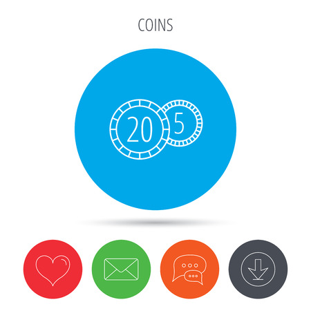 five cents: Coins icon. Cash money sign. Bank finance symbol. Twenty and five cents. Mail, download and speech bubble buttons. Like symbol. Vector