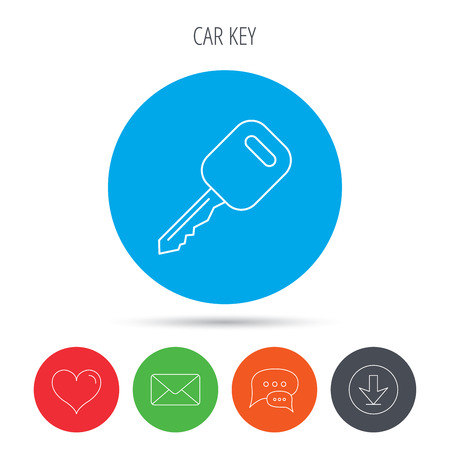 car lock: Car key icon. Transportat lock sign. Mail, download and speech bubble buttons. Like symbol. Vector