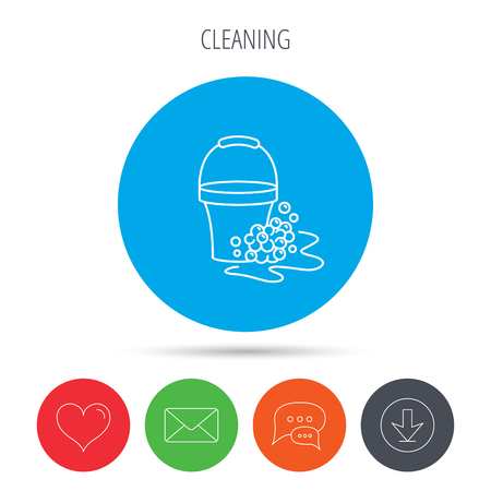 soapy: Soapy cleaning icon. Bucket with foam and bubbles sign. Mail, download and speech bubble buttons. Like symbol. Vector Illustration