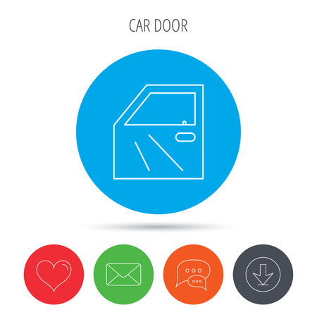 overhaul: Car door icon. Automobile lock sign. Mail, download and speech bubble buttons. Like symbol. Vector Illustration